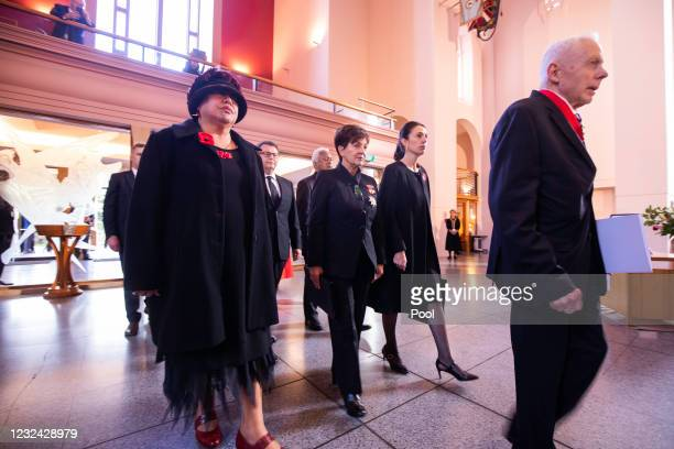 Dame Patsy Reddy and New Zealand Prime Minister Jacinda Ardern attend the State Memorial service for Duke Of Edinburgh, Prince Philip at the...
