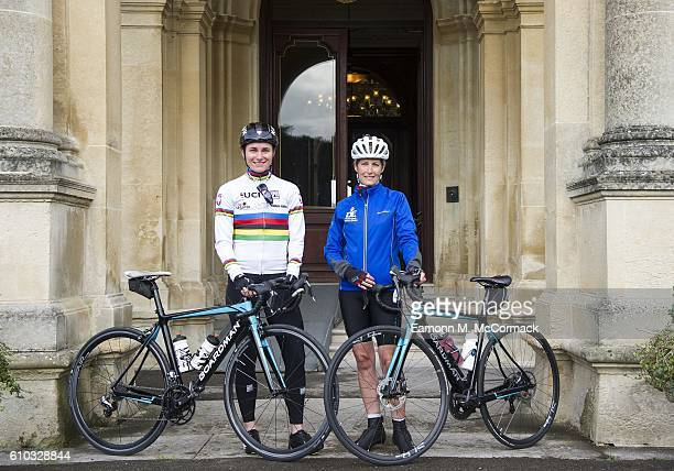 Dame Sarah Storey joins Sophie Countess of Wessex on the last day of her Diamond Challenge cycle ride on September 25 2016 near Aylesbury England The...