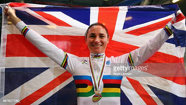 Dame Sarah Storey of the Great Britain Cycling Team celebrates winning the Women's C5 500m TT during day one of the UCI Paracycling Track World...