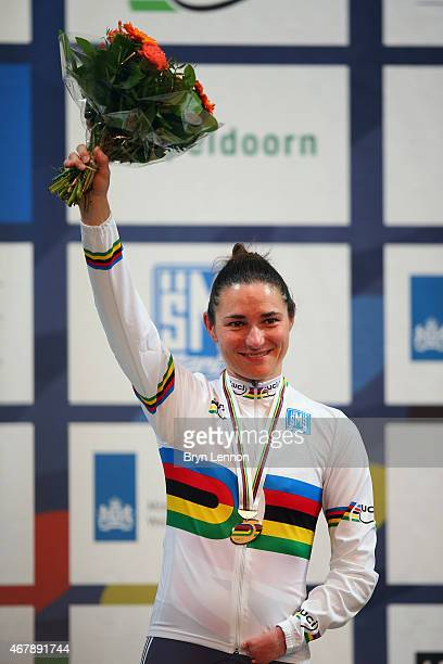 Dame Sarah Storey of the Great Britain Cycling Team celebrates winning the C5 3km Pursuit on day three of the UCI Paracycling Track World...