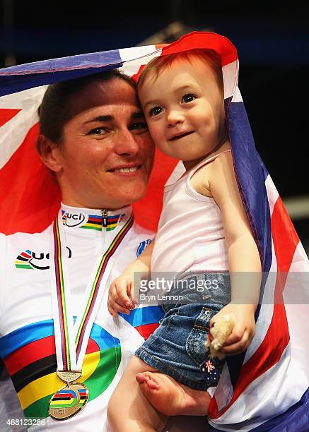 Dame Sarah Storey of the Great Britain Cycling Team celebrates with her daughter Louisa after winning the Women's C5 500m TT during day one of the...