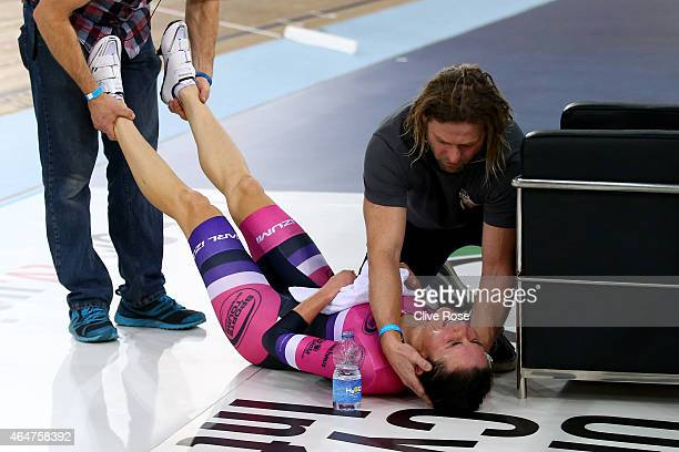 Dame Sarah Storey receives treatment after her Women's Hour Record attempt at the Lee Valley Velodrome on February 28 2015 in London England
