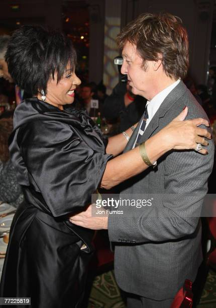 Dame Shirley Bassey and Sir Paul McCartney attend The Q Awards 2007 Champagne Reception held at the Grosvenor House Hotel on October 8 2007 in London