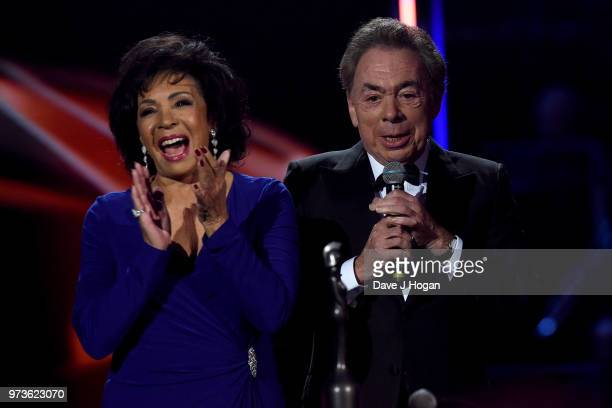 Dame Shirley Bassey and winner of the Special Recognition Award Sir Andrew Lloyd Webber on stage during the 2018 Classic BRIT Awards held at Royal...