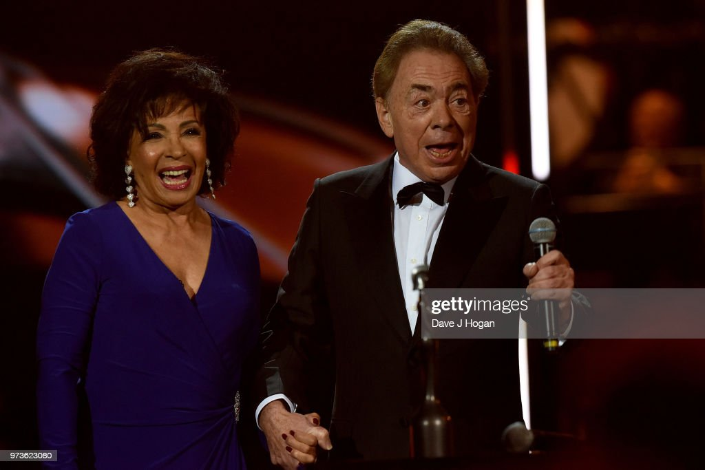 Dame Shirley Bassey (L) and winner of the Special Recognition Award, Sir Andrew Lloyd Webber on stage during the 2018 Classic BRIT Awards held at Royal Albert Hall on June 13, 2018 in London, England.