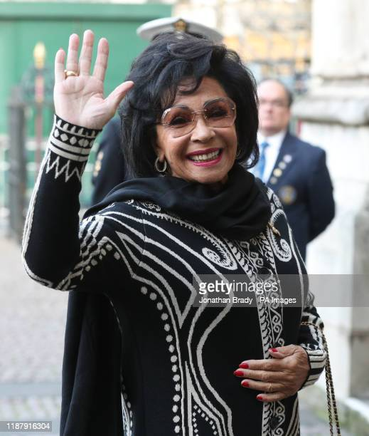Dame Shirley Bassey arrives for a service of thanksgiving for the life and work of Sir Donald Gosling at Westminster Abbey in London