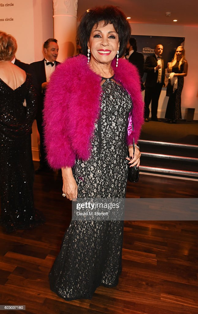 Dame Shirley Bassey attends a cocktail reception at The 62nd London Evening Standard Theatre Awards, recognising excellence from across the world of theatre and beyond, at The Old Vic Theatre on November 13, 2016 in London, England.