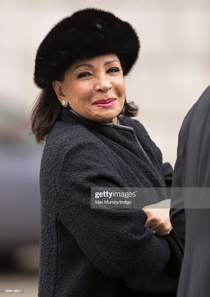 Dame Shirley Bassey attends the funeral of former British Prime Minister Baroness Margaret Thatcher at St Paul's Cathedral on April 17, 2013 in London, England. Dignitaries from around the world today join Queen Elizabeth II and Prince Philip, Duke of Edinburgh as the United Kingdom pays tribute to former Prime Minister Baroness Thatcher during a Ceremonial funeral with military honours at St Paul's Cathedral. Lady Thatcher, who died last week, was the first British female Prime Minister and served from 1979 to 1990.