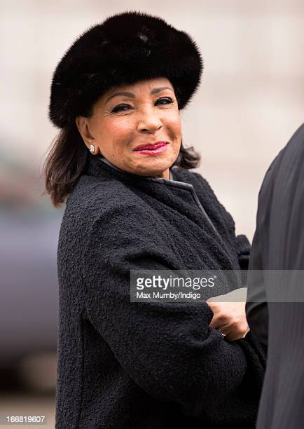 Dame Shirley Bassey attends the funeral of former British Prime Minister Baroness Margaret Thatcher at St Paul's Cathedral on April 17 2013 in London...