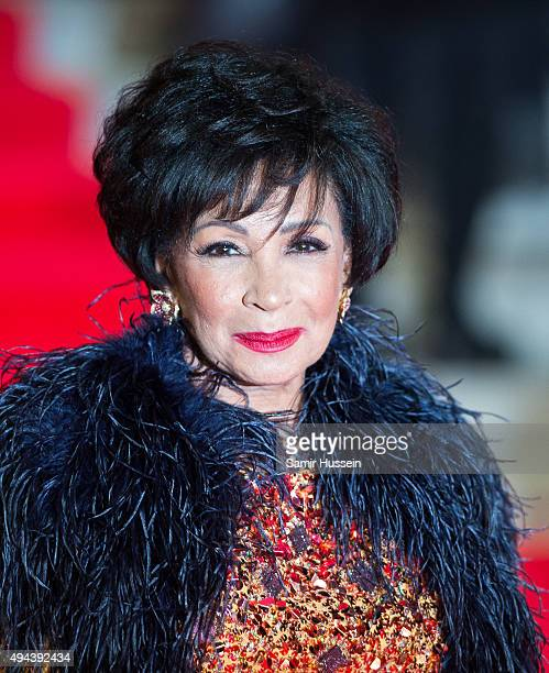 Dame Shirley Bassey attends the Royal Film Performance of 'Spectre' at Royal Albert Hall on October 26 2015 in London England