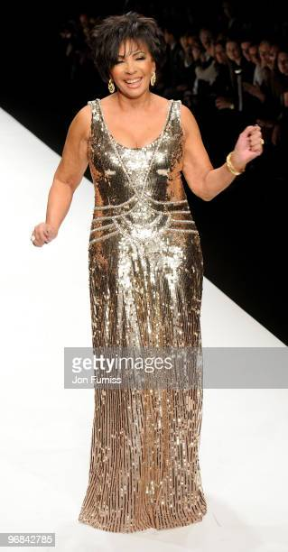 Dame Shirley Bassey on the catwalk at the Fashion for Relief show for London Fashion Week Autumn/Winter 2010 at Somerset House on February 18 2010 in...