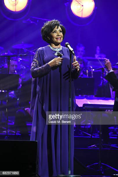 Dame Shirley Bassey performs as Chopard presents The Garden Of Kalahari collection at Theatre du Chatalet on January 21 2017 in Paris France