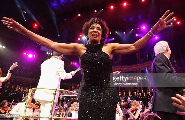 Dame Shirley Bassey performs in the Beatles Philharmonic Tribute at Royal Albert Hall on October 28 2010 in London England