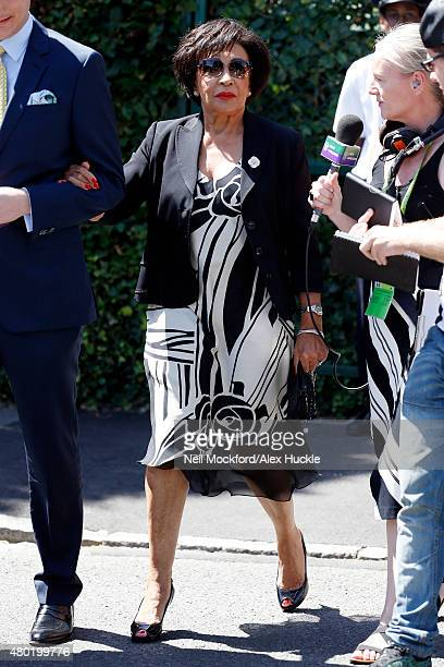 Dame Shirley Bassey seen arriving at Wimbledon on July 10 2015 in London England Photo by Neil Mockford/Alex Huckle/GC Images