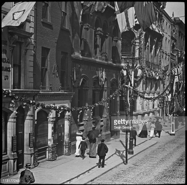 Dame street in Dublin during a visit to Ireland by King George V and Queen Mary July 1911