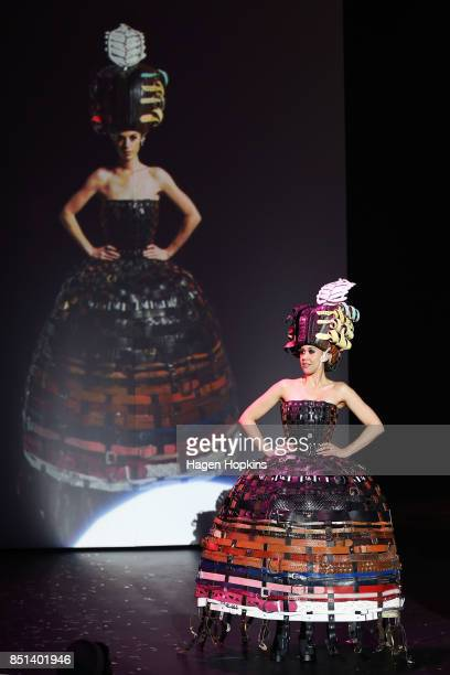 Dame Suzie Moncrieff Award winner '222 Buckle Belts' by Annina Gull of Switzerland is modelled during the World of WearableArt Awards 2017 at TSB...
