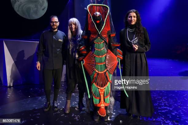 Dame Suzie Moncrieff poses with 'The Spirit of Waitomo' creators Maria Tsopanaki and Dimitri Mavinis of the United Kingdom after winning the...