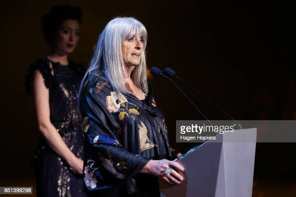 Dame Suzie Moncrieff speaks during the World of WearableArt Awards 2017 at TSB Bank Arena on September 22 2017 in Wellington New Zealand