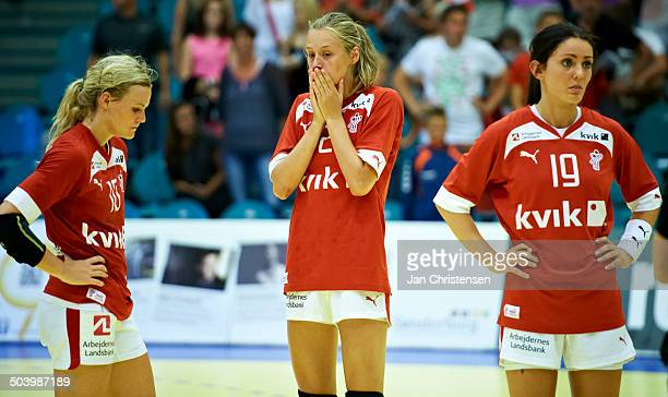 Dame U19 semifinal Russia vs Denmark From left Nadia Offendal Mathilde K Nielsen Sofie Bæk Andersen © Jan Christensen/FrontzoneSportdk