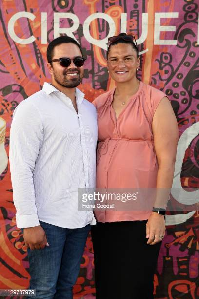 Dame Valerie Adams and husband Gabriel Price attend the opening night of Cirque du Soleil KOOZA on February 15 2019 in Auckland New Zealand