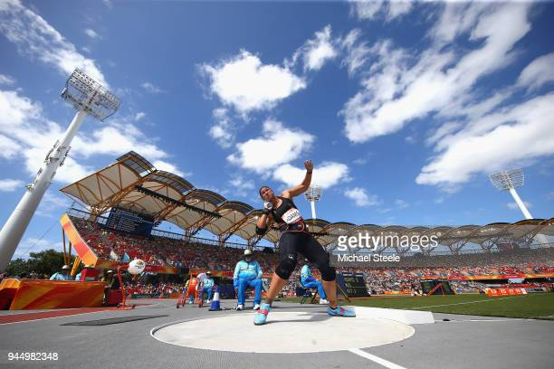 Dame Valerie Adams of New Zealand competes in the Women's Shot Put qualification during athletics on day eight of the Gold Coast 2018 Commonwealth...