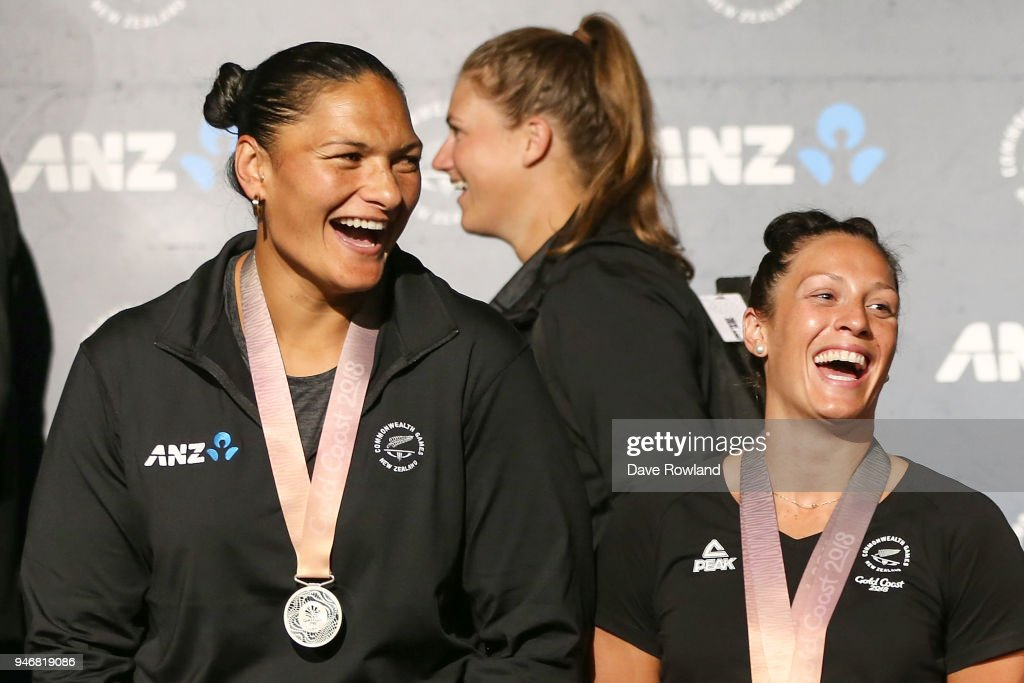 Dame Valerie Adams, (L) silver medal for shot put and Sophie Pascoe, gold medals for swimming during the Welcome Home Function at Novotel on April 16, 2018 in Auckland, New Zealand.