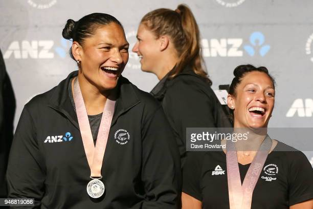 Dame Valerie Adams silver medal for shot put and Sophie Pascoe gold medals for swimming during the Welcome Home Function at Novotel on April 16 2018...