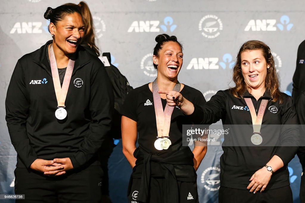 Dame Valerie Adams, (L) silver medal for shot put, Sophie Pascoe, gold medals for swimming and Julia Ratcliffe, gold medal for hammer throw during the Welcome Home Function at Novotel on April 16, 2018 in Auckland, New Zealand.
