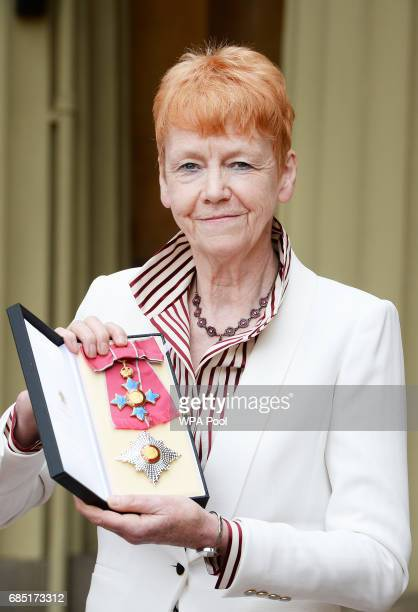 Dame Vera Baird poses after she was presented with the Insignia of Dame Commander of the Order of the British Empire by the Prince of Wales during an...