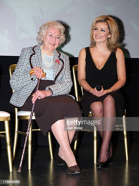 Dame Vera Lynn and Katherine Jenkins during Dame Vera Lynn's 90th Birthday Luncheon at Imperial War Museum in London Great Britain