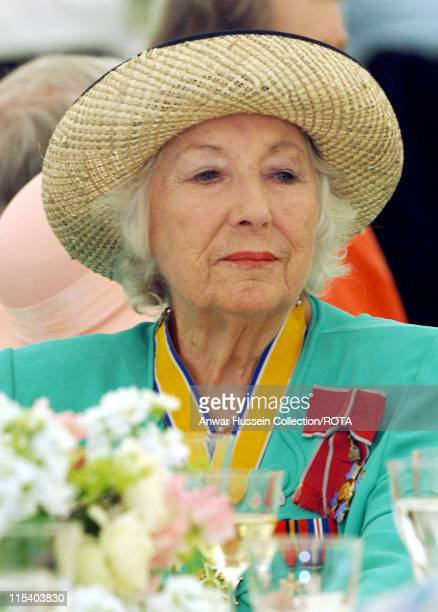 Dame Vera Lynn attends a lunch hosted by HM Queen Elizabeth 11 for Second World War Veterans in the gardens of Buckingham Palace on National...
