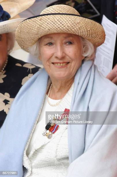 Dame Vera Lynn attends the unveiling of a contemporary sculpture on Victoria Embankment in central London to mark the 65th anniversary of the Battle...
