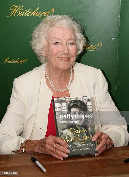 Dame Vera Lynn poses at a book signing for her new autobiographyl 'Some Sunny Day' at Hatchards bookshop on August 25 2009 in London England