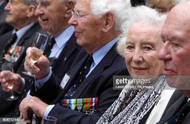 Dame Vera Lynn with World War II veteran fighter pilots outside the Churchill War Rooms in central London to listen to Robert Hardy reading Winston...