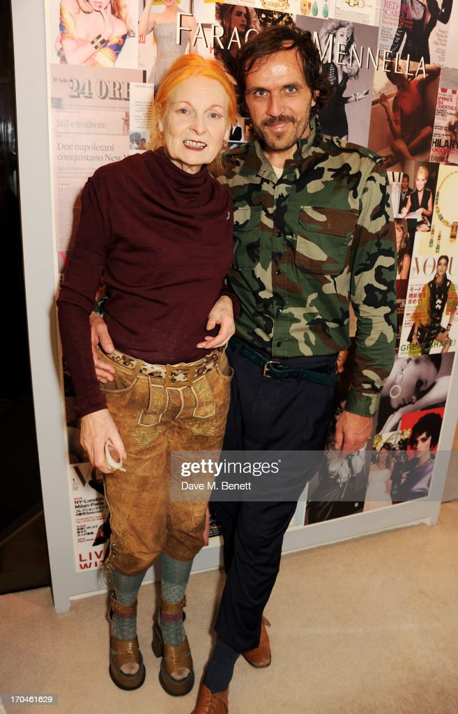 Dame Vivienne Westwood (L) and Andreas Kronthaler attend the 12th birthday of New York jewellery house Fararone Mennella, with guest of honour Patricia Field, at their Knightsbridge store on June 13, 2013 in London, England.