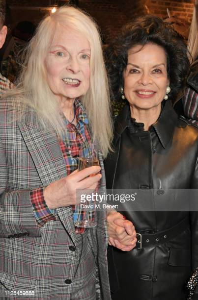 Dame Vivienne Westwood and Bianca Jagger pose backstage at the Vivienne Westwood show during London Fashion Week February 2019 on February 17 2019 in...