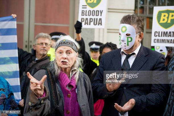 Dame Vivienne Westwood and Extinction Rebellion arrive to reenact the famous poster from the 1974 classic film The Texas Chain Saw Massacre in an...