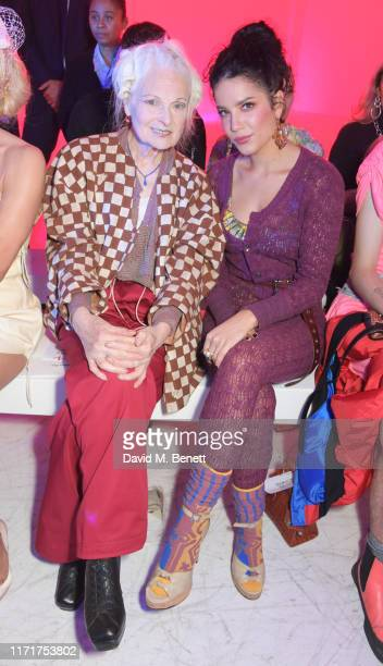 Dame Vivienne Westwood and Halsey attend the Andreas Kronthaler For Vivienne Westwood Womenswear Spring/Summer 2020 show as part of Paris Fashion...