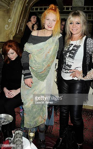 Dame Vivienne Westwood and Jo Wood attend the Vivienne Westwood after party with Belvedere during London Fashion Week Autumn/Winter 2012 at The Box...