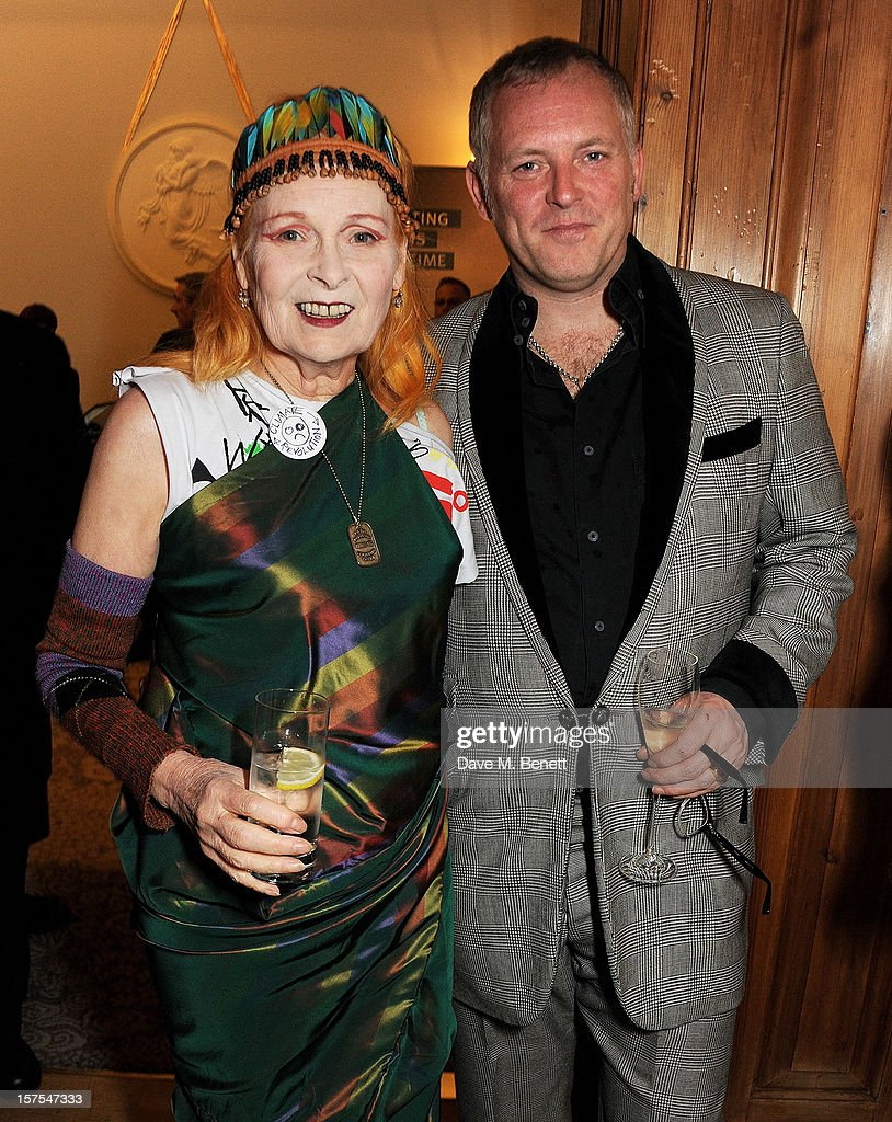 Dame Vivienne Westwood (L) and Joe Corre attend a cocktail reception at the 4th Fortune Forum Summit held at The Dorchester on December 4, 2012 in London, England.