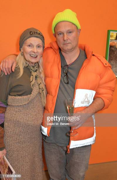 Dame Vivienne Westwood and Juergen Teller attend a private view of Juergen Teller's new exhibition Demelza Kids at Bonhams on April 9 2019 in London...