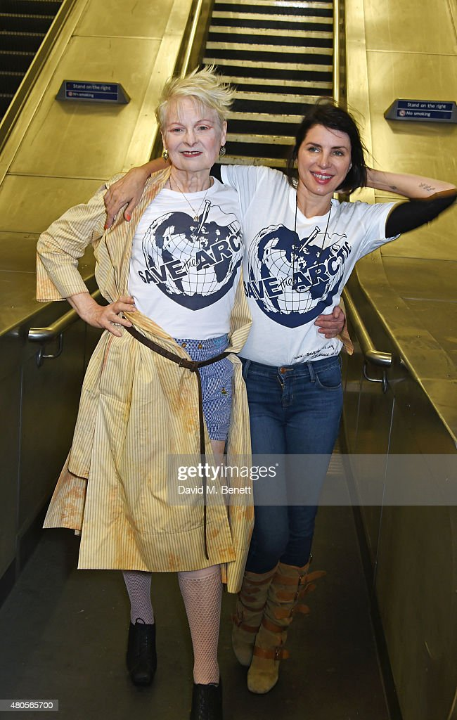 Dame Vivienne Westwood (L) and Sadie Frost attend the launch of the 'Save The Arctic' exhibition with Greenpeace hosted by London Underground at Waterloo Station on July 13, 2015 in London, England.