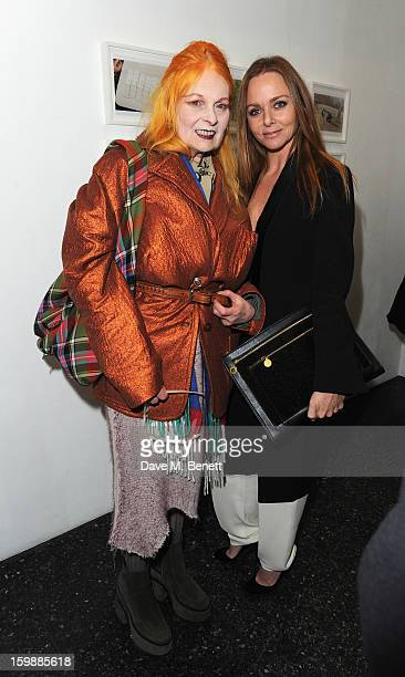 Dame Vivienne Westwood and Stella McCartney attends the private view of Juergen Teller's 'Woo' at ICA on January 22 2013 in London England