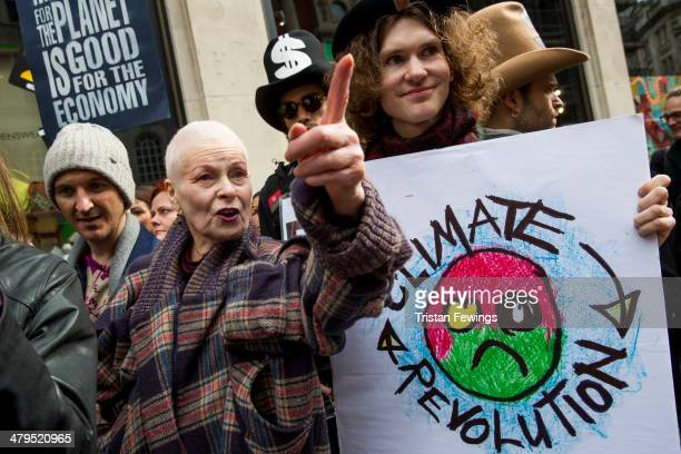 Dame Vivienne Westwood attends the Fracked Future Carnival on March 19 2014 in London England