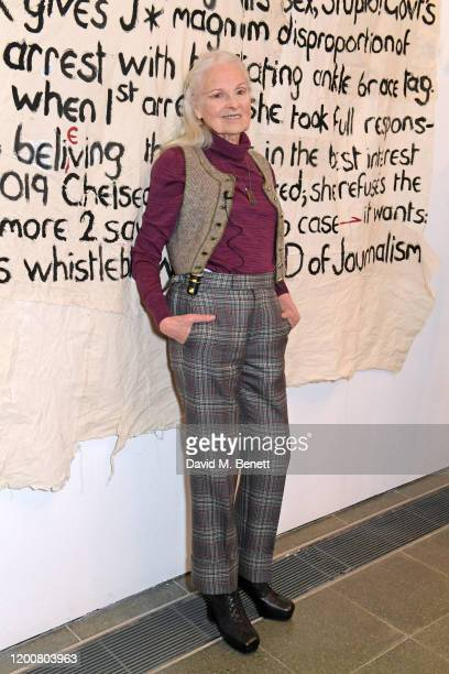 Dame Vivienne Westwood attends the Vivienne Westwood AW20/21 presentation and exhibition during London Fashion Week February 2020 at The Serpentine...