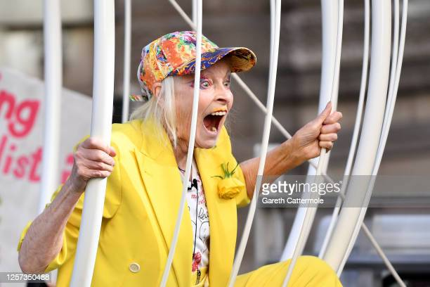 Dame Vivienne Westwood is suspended 10 Feet high inside giant bird cage in protest for Julian Assange at Old Bailey on July 21, 2020 in London,...