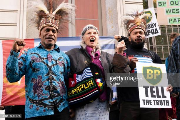 Dame Vivienne Westwood joins an Extinction Rebellion demonstration outside the headquarters of BP protesting crimes against the climate in the Papua...