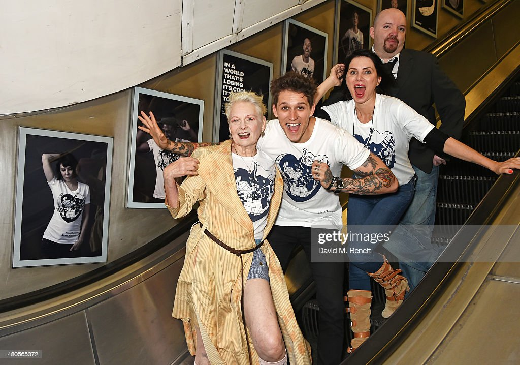 Dame Vivienne Westwood, model Leebo Freeman, Sadie Frost and photographer Andy Gotts attend the launch of the 'Save The Arctic' exhibition with Greenpeace hosted by London Underground at Waterloo Station on July 13, 2015 in London, England.