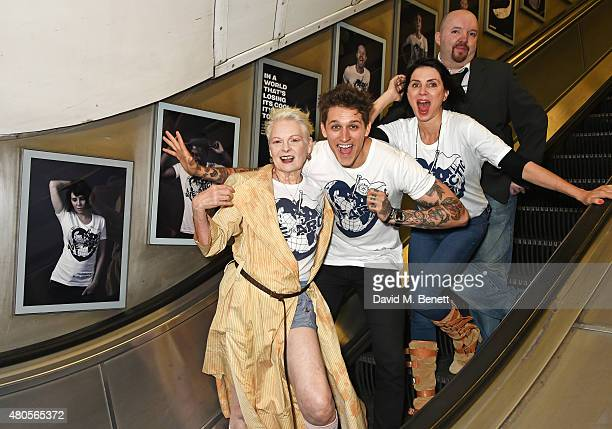 Dame Vivienne Westwood model Leebo Freeman Sadie Frost and photographer Andy Gotts attend the launch of the 'Save The Arctic' exhibition with...