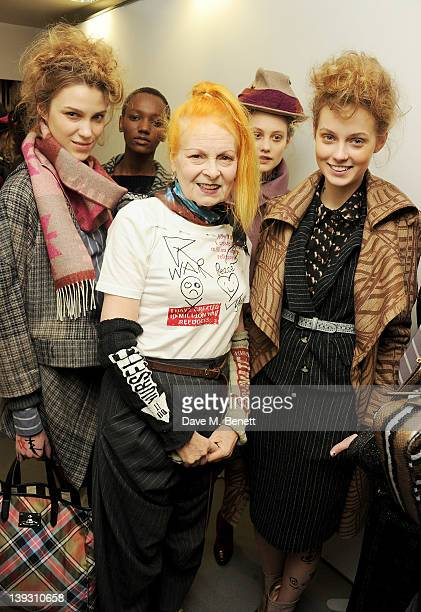 Dame Vivienne Westwood poses backstage at the Vivienne Westwood Red Label Autumn/Winter 2012 show during London Fashion Week at My Beautiful Fashion...